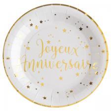 Assiette anniversaire blanche et or (x10) REF/5670