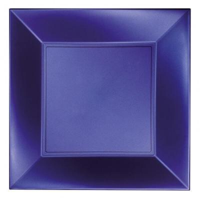 Assiette carrée plate bleu perlé en plastique réutilisable de 23cm (x8) REF/58050