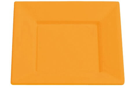 Assiette carree plastique 18cm orange