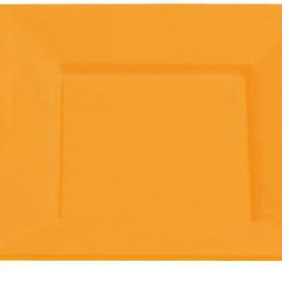 Assiette plastique carrée 18cm mandarine (x8) REF/2308