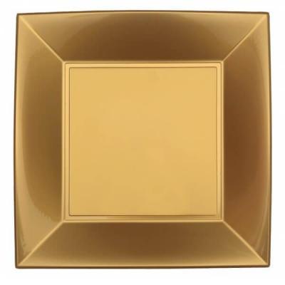 Assiette carrée plate dorée or en plastique réutilisable de 23cm (x8) REF/68050