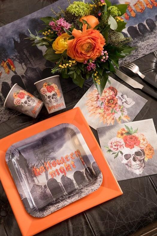 Assiette carton decoration halloween cimetiere hante