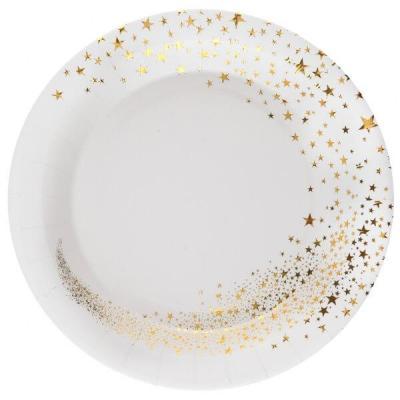 Assiette carton magie des étoiles de Noël blanc et doré (x10) REF/7452