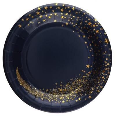 Assiette carton magie des étoiles de Noël bleu marine et doré (x10) REF/7452