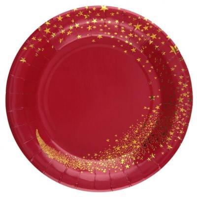 Assiette carton magie des étoiles de Noël rouge et doré (x10) REF/7452