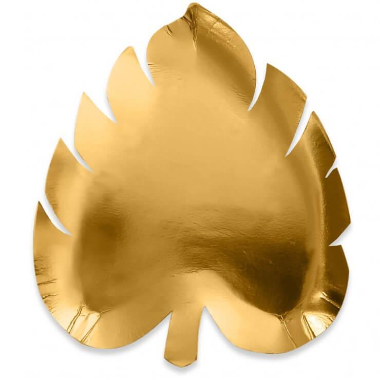 Assiette carton feuille jungle dore or