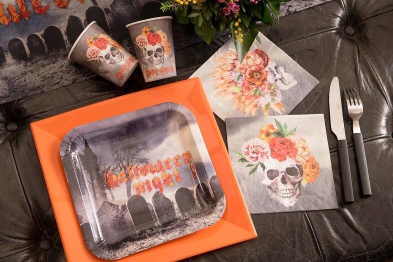 Assiette carton halloween cimetiere hante