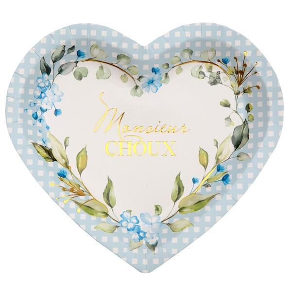 Assiette coeur baby shower bleu ciel avec fleurs decoratives