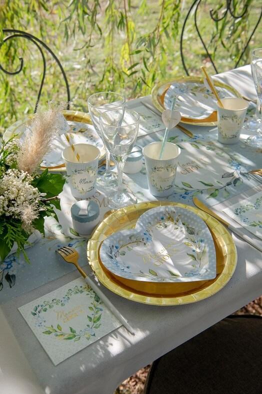 Assiette coeur baby shower bleu ciel fleur decorative
