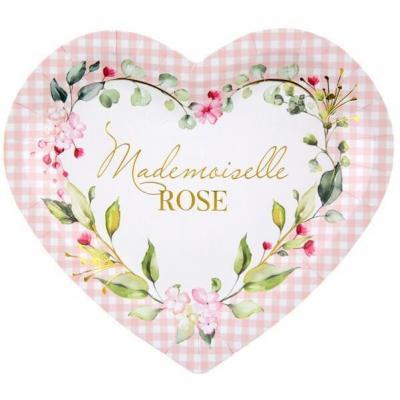 Assiette coeur Baby Shower rose avec des fleurs décoratives (x10) REF/7309