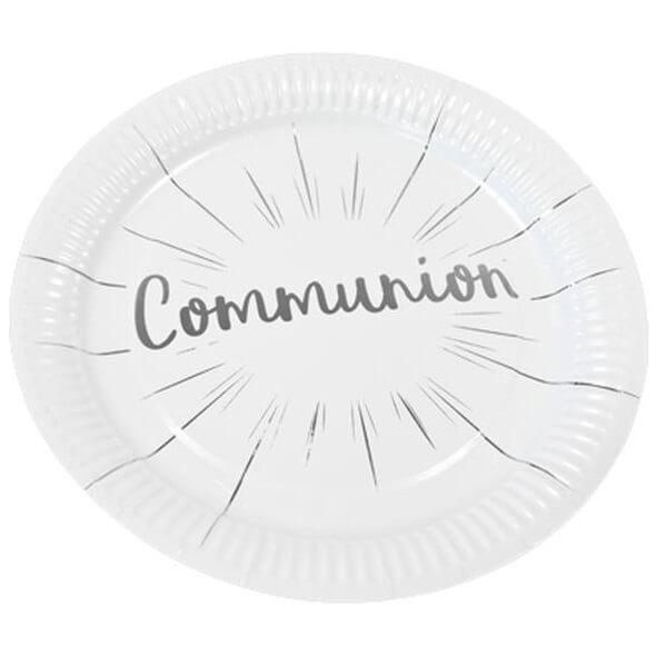 Assiette communion blanche et argentee