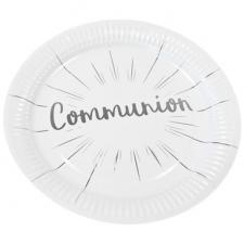 Assiette communion blanche et argentée 23cm (x6) REF/JET013
