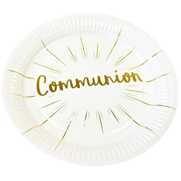 Assiette communion blanche et doree