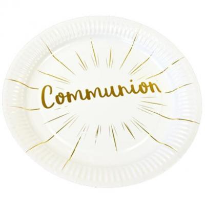 Assiette communion blanche et dorée 23cm (x6) REF/JET013