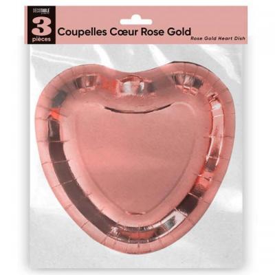 Assiette mariage coeur rose gold en coupelle (x3) REF/APCCRG