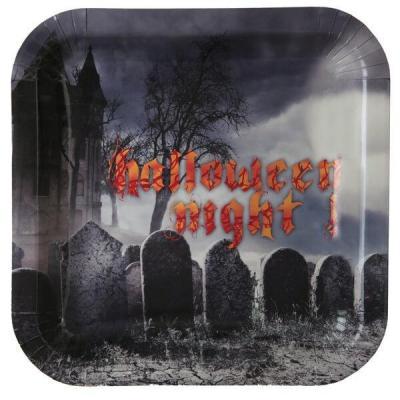 Assiette Halloween avec cimetière hanté (x10) REF/6559