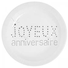 Assiette joyeux anniversaire blanche (x10) REF/4007