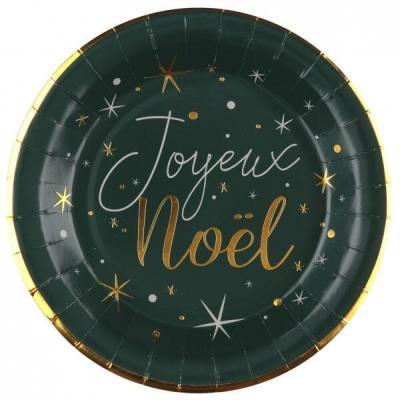 Assiette en carton Joyeux Noël vert sapin avec des motifs étoiles (x10) REF/7456