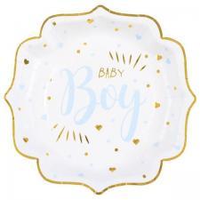 Assiette Baby Shower Boy en blanc, bleu ciel et or métallisé 21cm (x10) REF/7252