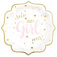 Assiette Baby Shower Girl en blanc, rose et or métallisé 21cm (x10) REF/7252
