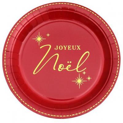 Assiette joyeux Noël rouge et dorée en matière carton (x10) REF/6967