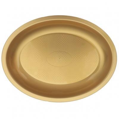 Assiette ovale incassable or 25.5cm (x10) REF/62754