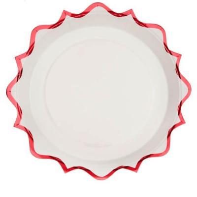 Assiette festonnée rouge et blanche de 17.5cm (x10) REF/6522