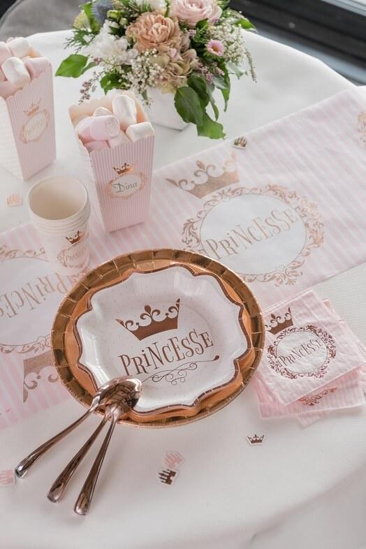 Assiette fete anniversaire princesse blanche et rose gold