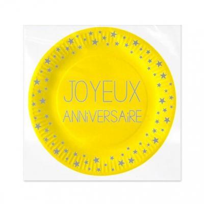 Assiette jaune anniversaire, 18cm (x6) REF/AAC18000J