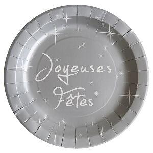 Assiette joyeuses fetes gris