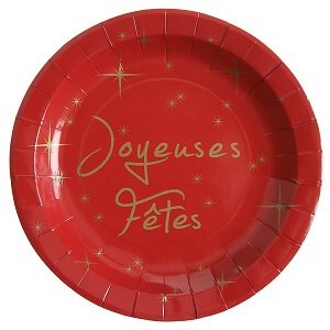 Assiette joyeuses fetes rouge