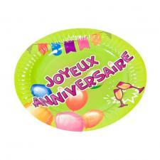 Assiette joyeux anniversaire, 18cm (x6) REF/AA1003PP/PM