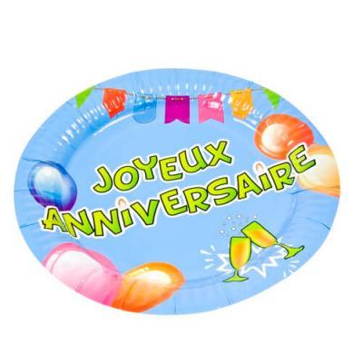 Assiette joyeux anniversaire multicolore 23cm (x6) REF/AA1002PP