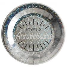 Assiette de table joyeux anniversaire argent métallique (x10) REF/6647