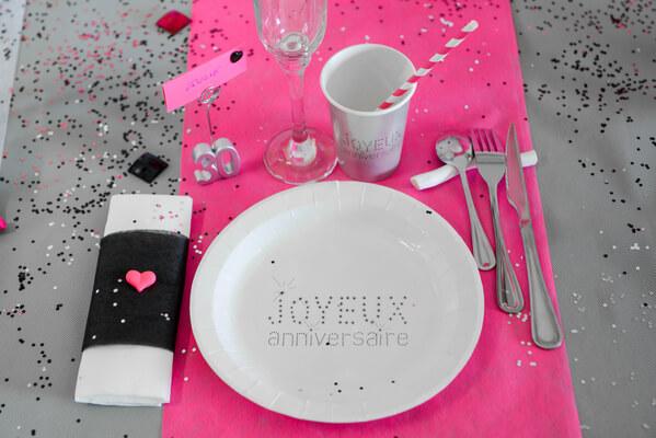 Assiette joyeux anniversaire balnche 1