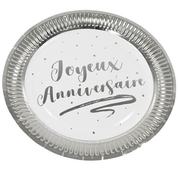 Assiette joyeux anniversaire blanc et argent 18cm