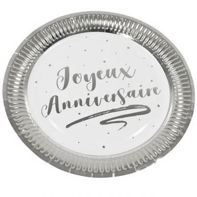 Assiette joyeux anniversaire blanche et argentée 18cm (x6) REF/JET002
