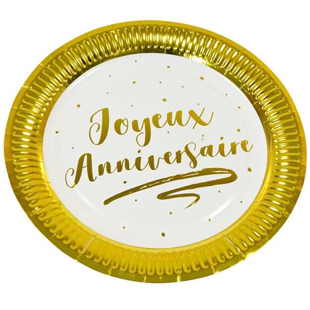 Assiette joyeux anniversaire blanc et or 18cm