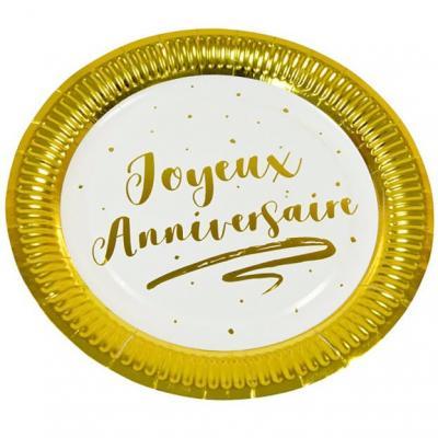 Assiette joyeux anniversaire blanche et dorée 23cm (x6) REF/JET003