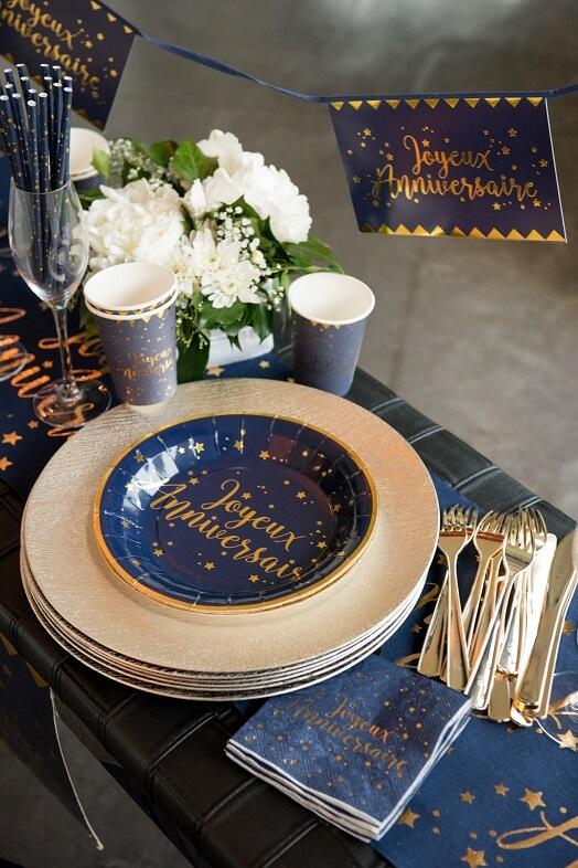 Assiette joyeux anniversaire bleu et or