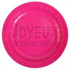 Assiette joyeux anniversaire fuchsia (x10) REF/4007