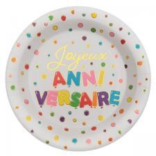 Assiette Joyeux Anniversaire multicolore 22.5cm (x10) REF/7224