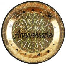 Assiette de table joyeux anniversaire noir et or métallique (x10) REF/6647