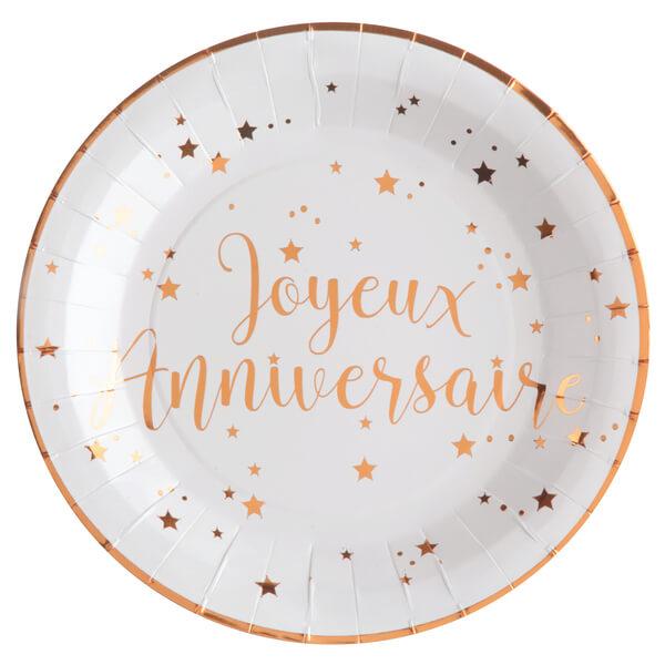 Assiette joyeux anniversaire rose gold et blanche