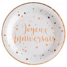 Assiette joyeux anniversaire rose gold et blanche (x10) REF/5670