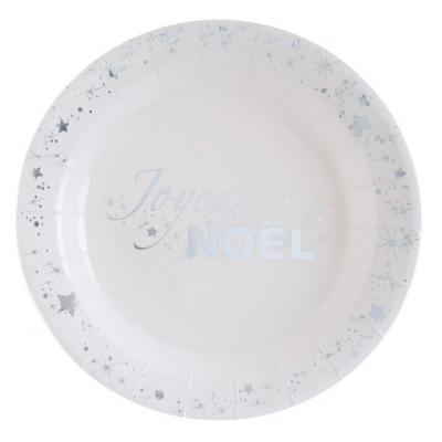Petite assiette joyeux noël argent et blanche (x10) REF/5886