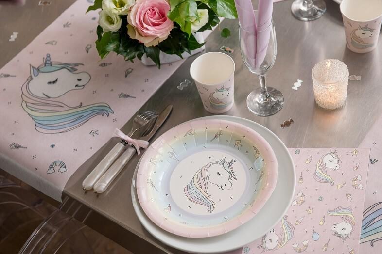 Assiette licorne rose