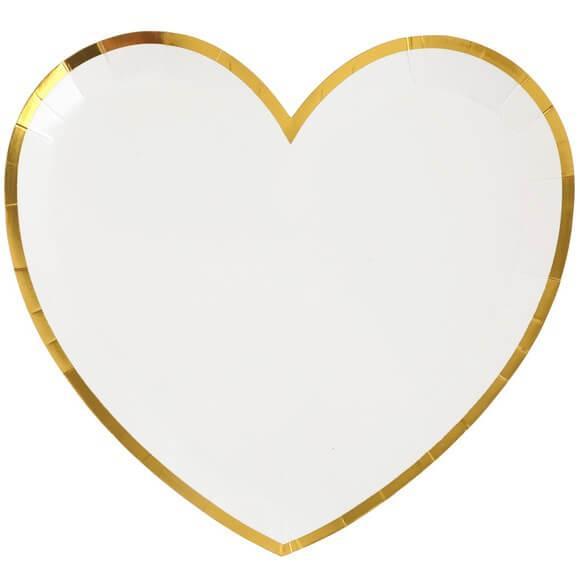 Assiette mariage coeur en carton blanche et doree