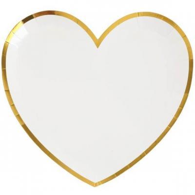 Assiette coeur blanche et dorée métallisée (x10) REF/6811