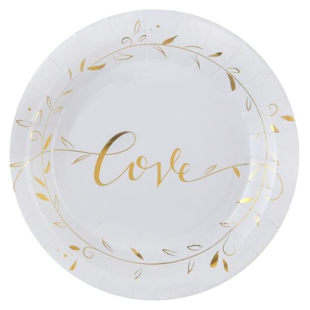Assiette mariage love blanc et or